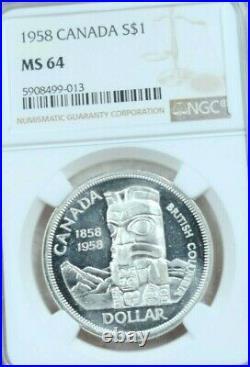 1958 Canada Silver 1 Dollar Totem Pole Elizabeth II Ngc Ms 64 Beautiful Bu Coin