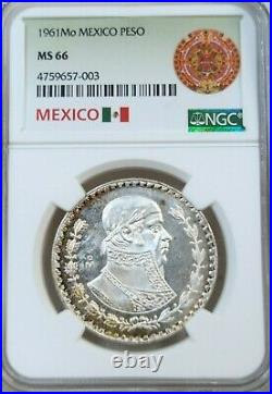 1961 Mexico Silver 1 Peso Jose Morelos Ngc Ms 66 Beautiful Toning Frosty Coin