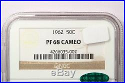 1962 1962-P Franklin Half Dollar NGC PF68 Cameo CAC Beautiful coin