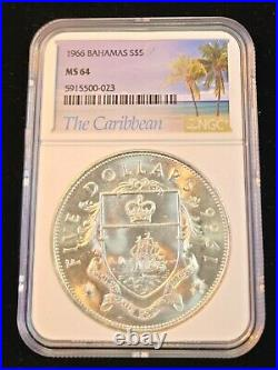 1966 Bahamas Silver 5 Dollars Coat Of Arms Ngc Ms 64 Scarce Bu Beautiful Coin