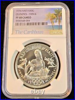 1976 Haiti Silver 50 Gourdes S50g Olympics Thin 6 Ngc Pf 68 Cameo Beautiful Coin