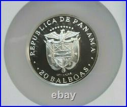 1977 Panama Silver 20 Balboas Vasco Nunez Ngc Pf 68 Ultra Cameo Beautiful Coin
