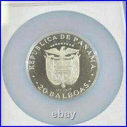1979 Panama Silver 20 Balboas Vasco Nunez Ngc Pf 66 Ultra Cameo Beautiful Coin