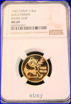 1982 China Gold 1/4 Oz Panda Short Leaf Ngc Ms 69 Scarce Beautiful Top Pop