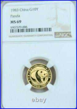 1983 China Gold 10 Yuan G10y Panda Ngc Ms 69 Very High Grade Scarce Beauty