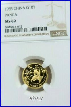 1985 China Gold 10 Yuan G10y Panda Ngc Ms 69 Stunning Mirror Luster Beautiful