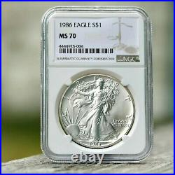 1986 American Silver Eagle 1st Year $1 Dollar NGC MS70. Brown Label Beauty