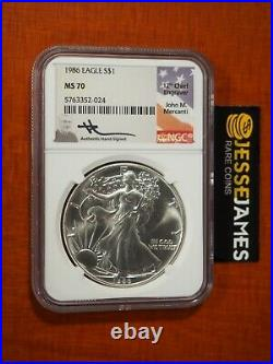 1986 American Silver Eagle Ngc Ms70 John Mercanti Signed Beautiful Coin Low Pop