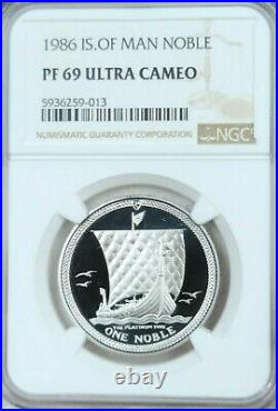 1986 Isle Of Man Platinum 1 Noble Ngc Pf 69 Ultra Cameo 1 Oz Low Mintage Beauty