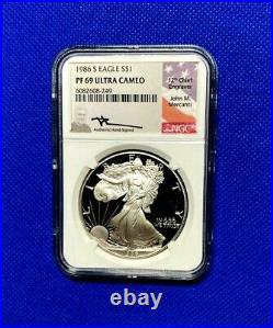 1986 S Silver Eagle Dollar Ngc Pf69 Ultra Cameo John Mercanti Beautiful Coin