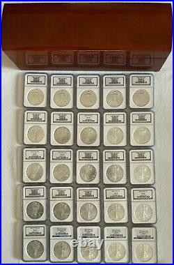 1986 thru 2010 Silver Eagle NGC MS69 25 coins with Beautiful Rosewood Box