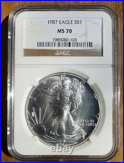 1987 American Silver Eagle NGC MS70 Beautiful NO SPOTS! $950 REDUCED! $925