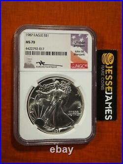 1987 American Silver Eagle Ngc Ms70 John Mercanti Signed Beautiful Coin Low Pop