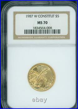 1987-W $5 GOLD COMMEMORATIVE 1/4 Oz. CONSTITUTION NGC MS70 BEAUTIFUL