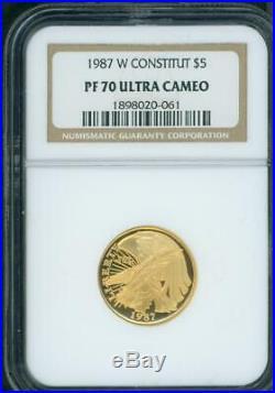 1987-W $5 GOLD COMMEMORATIVE 1/4 Oz. CONSTITUTION NGC PF70 PR70 PF-70 BEAUTIFUL