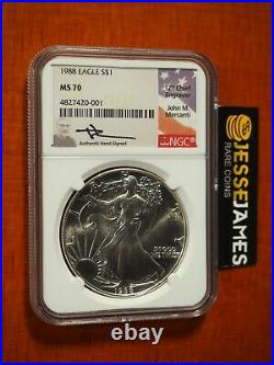 1988 American Silver Eagle Ngc Ms70 John Mercanti Signed Beautiful Coin Low Pop
