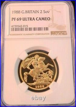 1988 Great Britain Gold 2 Sovereign Ngc Pf 69 Ultra Cameo High Grade Beautiful