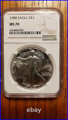 1988 MS70 American Silver Eagle NGC Brown Label Beautiful NO Spots