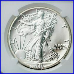 1989 American Silver Eagle 4th Year $1 Dollar NGC MS70. Brown Label Beauty