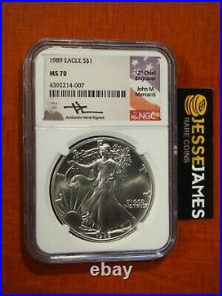 1989 American Silver Eagle Ngc Ms70 John Mercanti Signed Beautiful Coin Low Pop