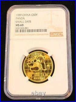 1989 China Gold 50 Yuan G50y Panda Ngc Ms 69 High Grade Bright Beautiful Coin