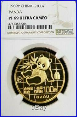 1989 P China Gold 100 Yuan G100y Panda Ngc Pf 69 Ultra Cameo Bright Beauty