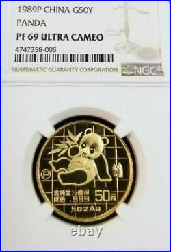 1989 P China Gold 50 Yuan G50y Panda Ngc Pf 69 Ultra Cameo Bright Beautiful Coin
