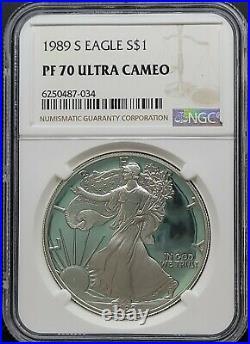 1989-S NGC PF70 UCAM American Silver Eagle S$1 Dollar PROOF Beautiful PR70