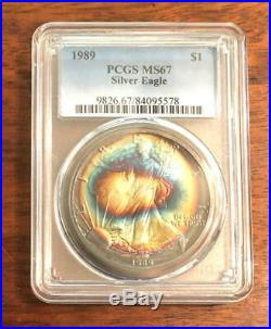 1989 U S Silver Eagle PCGS MS Beautiful RAINBOW BULLSEYE TONED! Not NGC