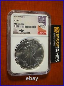 1991 American Silver Eagle Ngc Ms70 John Mercanti Signed Beautiful Coin Low Pop