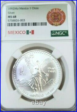 1992 Mexico Silver Libertad 1 Onza Ngc Ms 68 Better Date Gem Bu Beautiful Coin