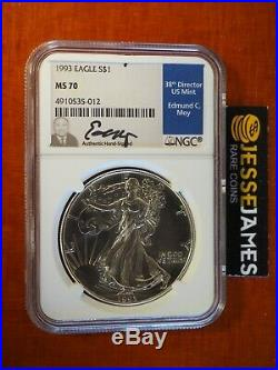 1993 American Silver Eagle Ngc Ms70 Edmund Moy Signed Beautiful Coin Low Pop