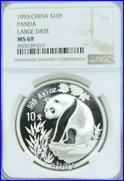 1993 China Silver 10 Yuan S10y Panda Large Date Ngc Ms 69 Beautiful High Grade