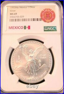 1993 Mexico Silver 1 Onza Libertad Ngc Ms 69 Bright Beautiful Scarce Coin