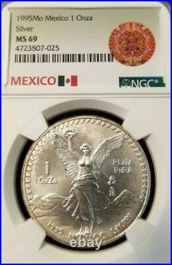 1995 Mexico Silver Libertad 1 Onza Ngc Ms 69 Scarce High Grade Beauty