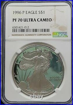 1996-P NGC PF70 UCAM American Silver Eagle S$1 Dollar PROOF Beautiful PR70