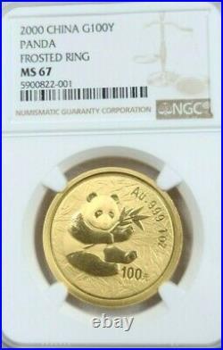 2000 China Gold 100 Yuan G100y Panda Frosted Ring Ngc Ms 67 High Grade Beauty