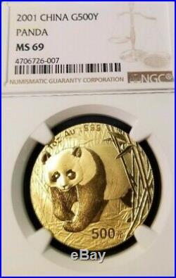 2001 China Gold 500 Yuan Panda G500y Ngc Ms 69 High Grade Beautiful Coin