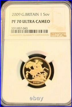 2009 Great Britain Gold 1 Sovereign Ngc Pf 70 Ultra Cameo Beautiful Perfection