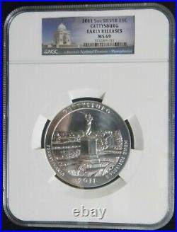 2011 Gettysburg NP 5 oz America The Beautiful 25c NGC MS69 Early Releases #OC39