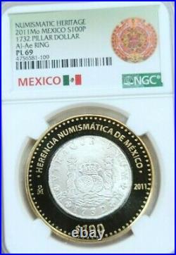 2011 Mexico Silver 100 Pesos 1732 Pillar Dollar Ngc Pl 69 Beautiful Scarce Coin