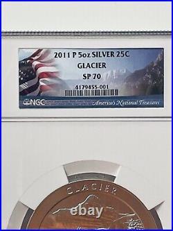 2011-P America the Beautiful 5 Oz. Silver Uncirculated Coin GLACIER SP 70