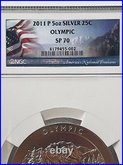 2011-P America the Beautiful 5 Oz. Silver Uncirculated Coin OLYMPIC SP 70