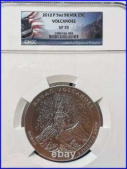 2012-P America the Beautiful 5 Oz. Silver Uncirculated Coin VOLCANOES SP 70