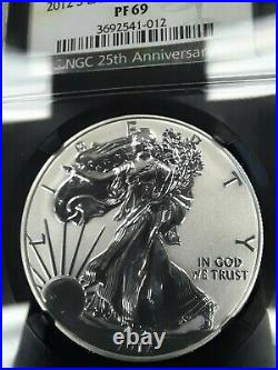 2012 S PF69 BEAUTIFUL Ultra Cameo REVERSE PROOF Silver Eagle, NGC, FREE SHIPPING