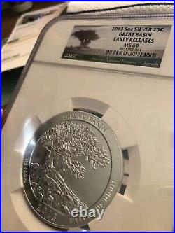 2013 5 Ounce Silver America the Beautiful Great Basin NGC MS69 Early Release WOW