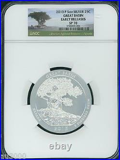 2013-p Great Basin Atb America Beautiful 5 Oz. Silver Ngc Sp70 Er Early Releases