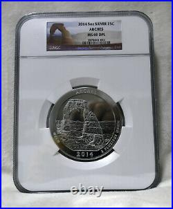 2014 5 Oz US Mint 999 Silver America Beautiful Arches 25c Coin NGC MS 69 DPL