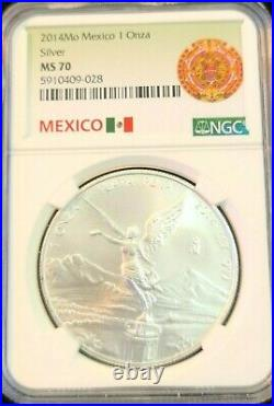 2014 Mexico Silver Libertad 1 Onza Ngc Ms 70 Beautiful Scarce Perfect Coin