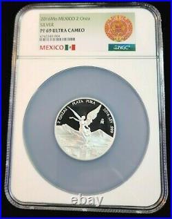 2016 Mexico Silver Libertad 2 Onza Ngc Pf 69 Ultra Cameo Scarce Beauty